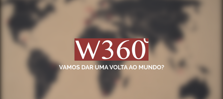 """Logotipo do W360.PT sobre o mapa do mundo com o slogan """"Vamos dar uma volta ao mundo?"""""""
