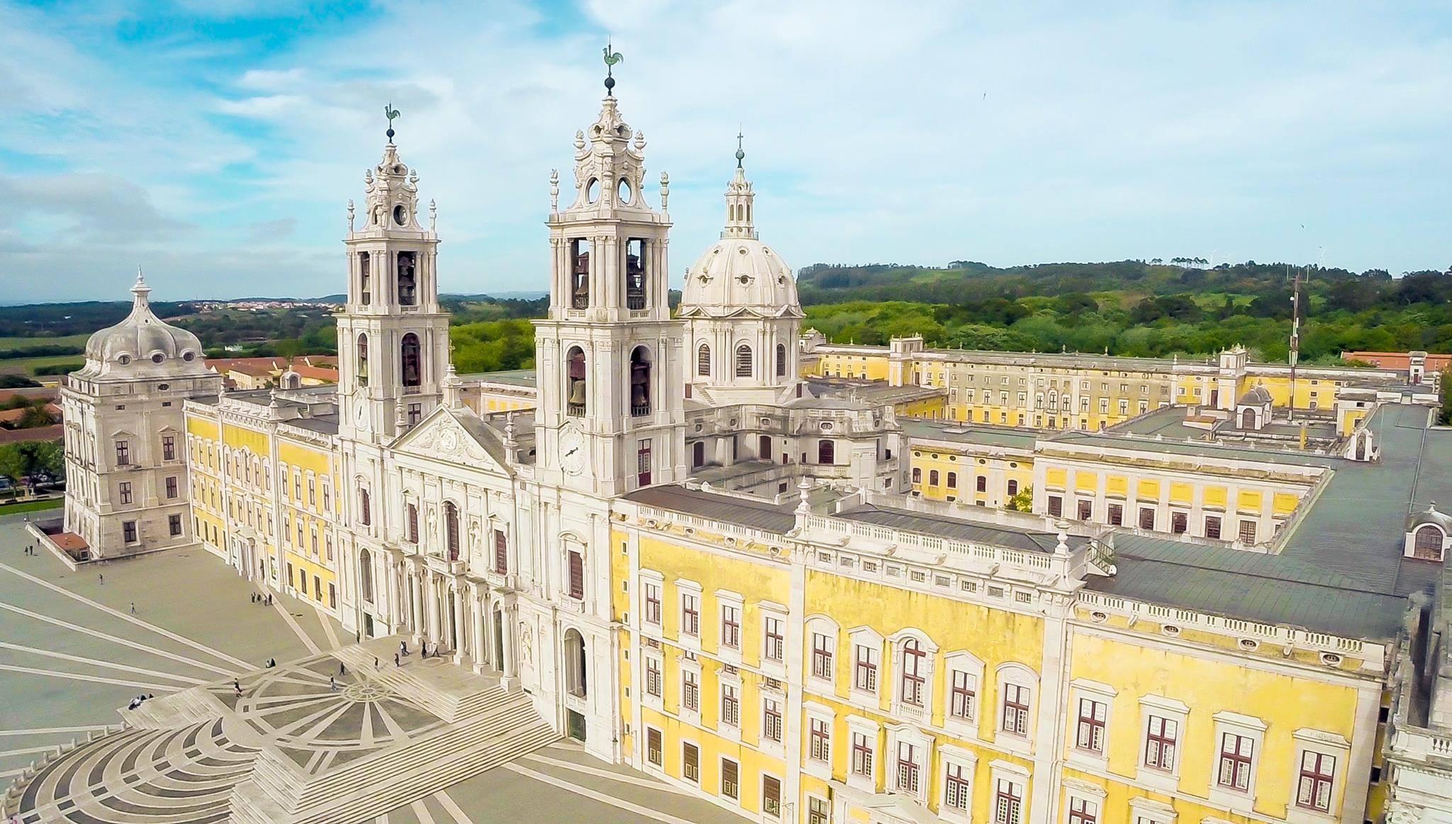 Vista panorâmica, a partir do céu, do Palácio de Mafra