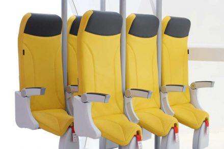 Protótipo de assento vertical desenvolvido pela Aviointeriores