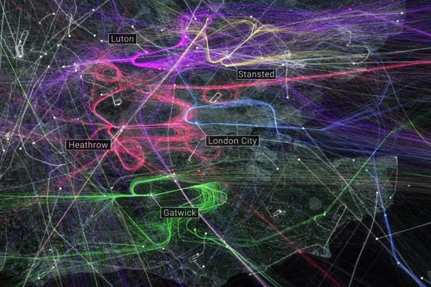 animação trafego aéreo londres