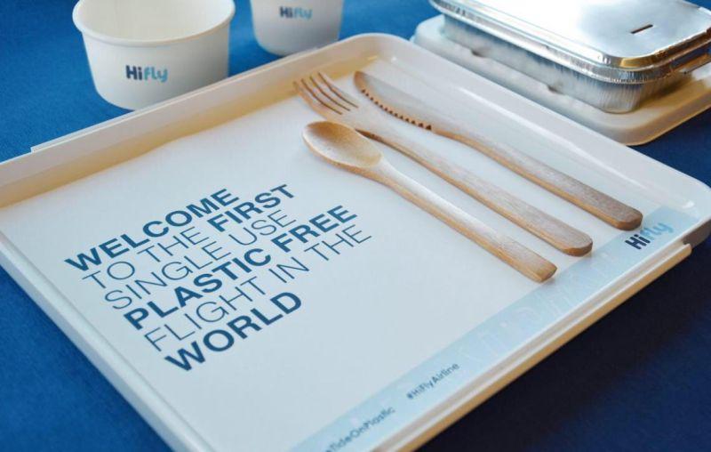 hi fly primeiro voo comercial do mundo sem plásticos descartaveis