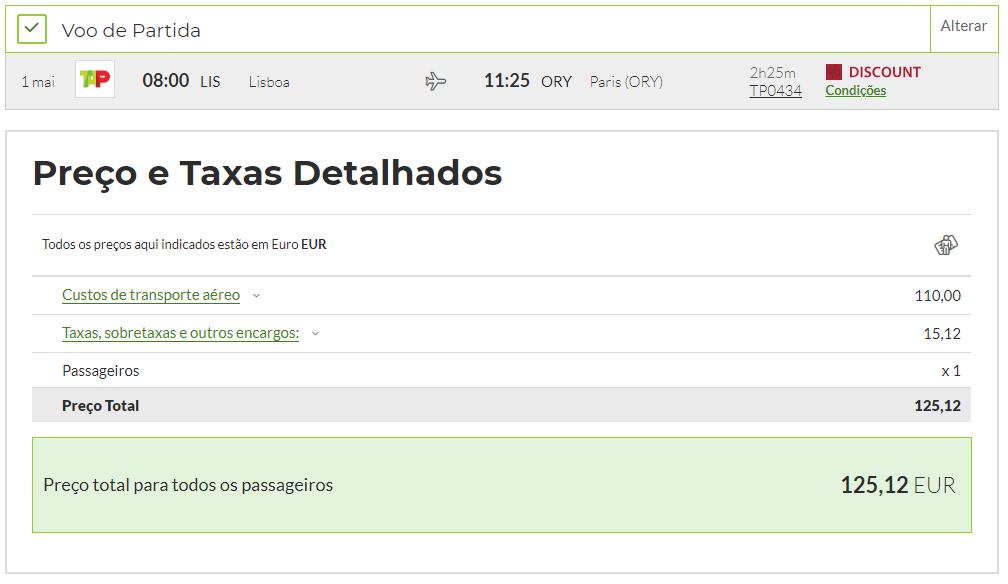 Captura de ecrã da área de reserva de voos do site da TAP com apresentação de preços para a rota Lisboa - Paris