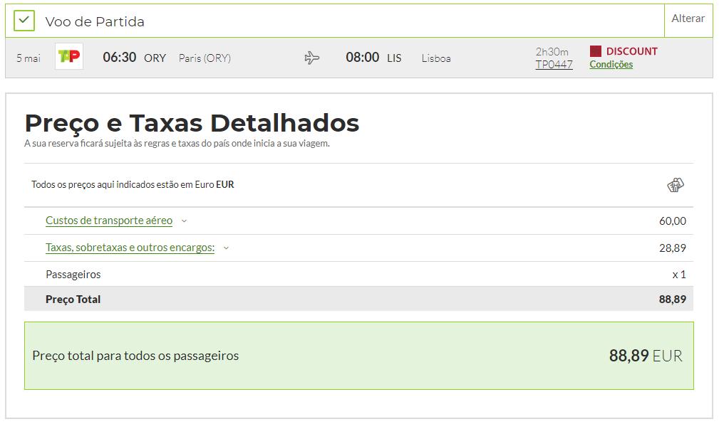Captura de ecrã da área de reserva de voos do site da TAP com apresentação de preços para a rota Lisboa - Paris - Lisboa