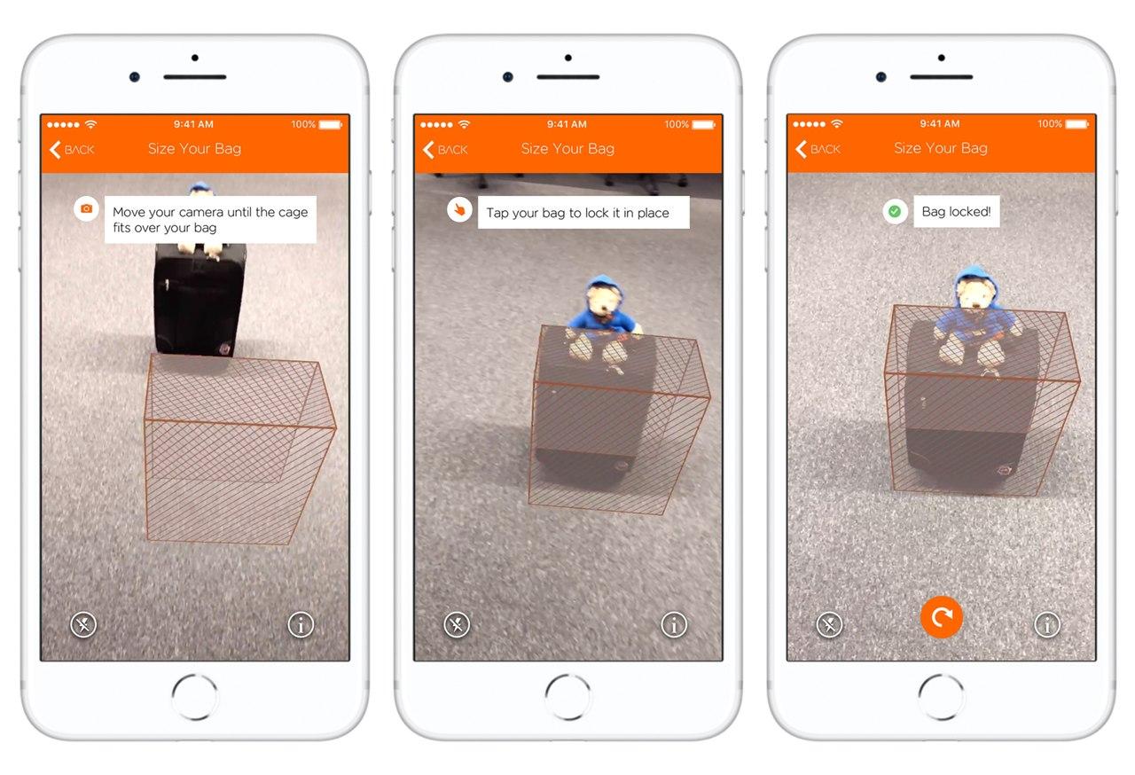Capturas de ecrã em iphone da nova funcionalidade da app da Easyjet que permite medir a bagagem de cabine através de realidade aumentada_Easy-Resize.com