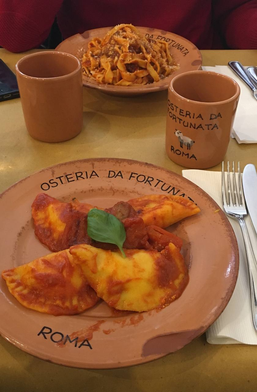 Pasta iitaliana na Osteria Fortunata em Roma. Foto de Inês Marques