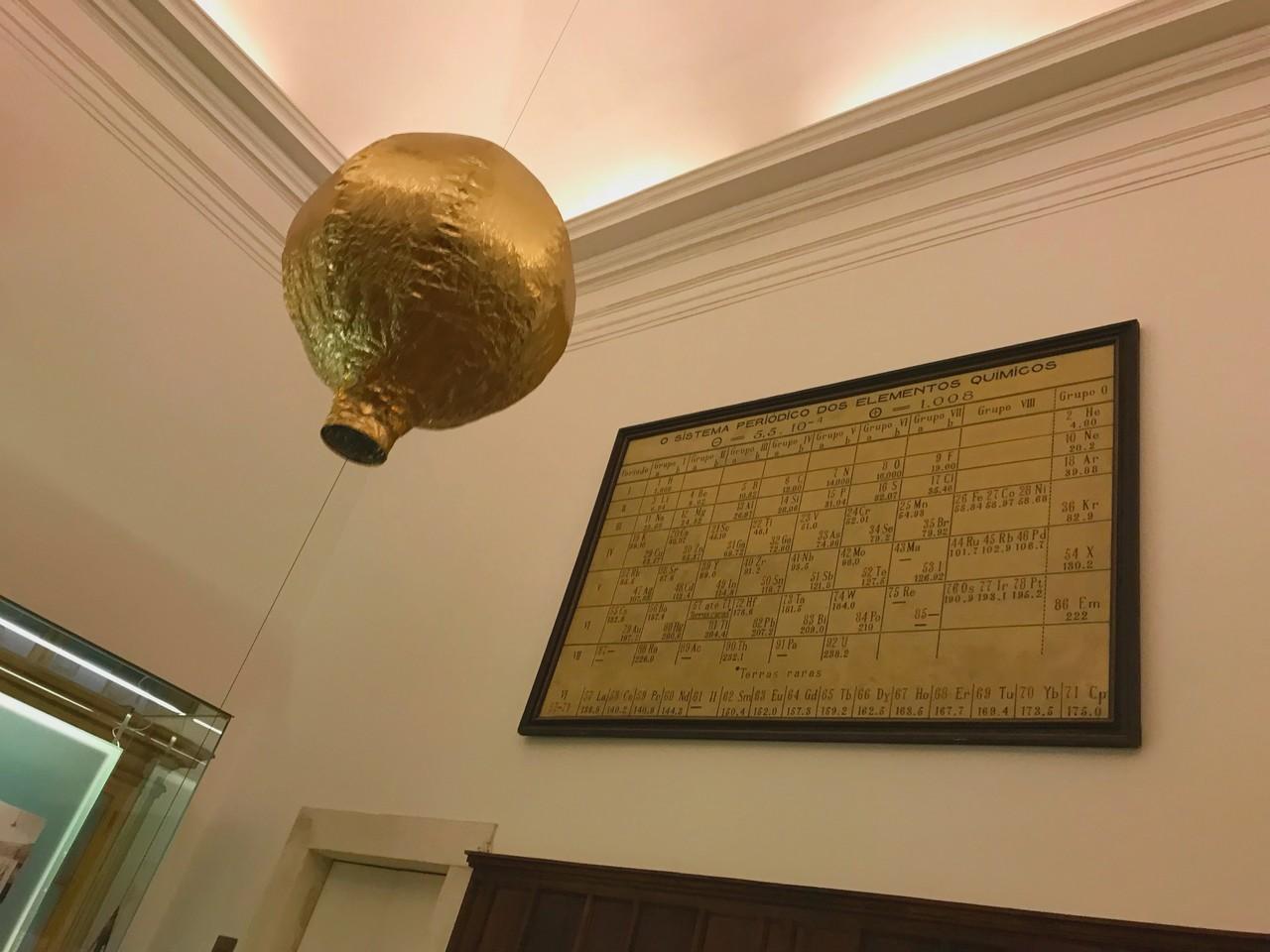 Balão de ar quente a subir em direção ao teto no Museu da Ciência da Universidade de Coimbra com o sistema periódico dos elementos químicos em fundo. Foto de Diogo Pereira