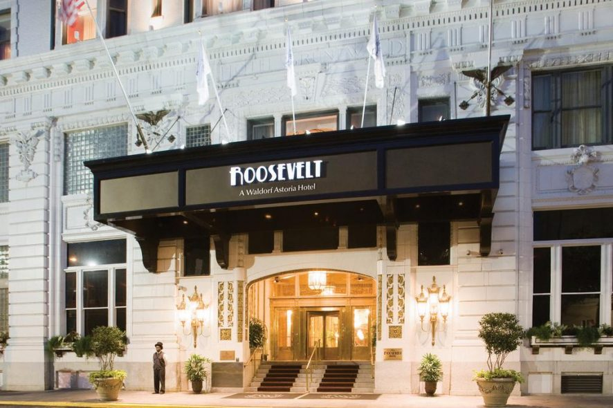 Fachada do The Roosevelt Hotel New Orleans nos Estados Unidos da América. Foto de Booking.com