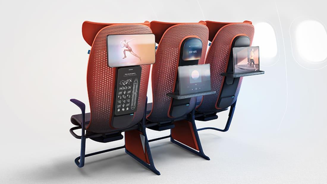 Move, costas dos novos assentos de avião destinados à classe económica desenvolvidos pela Layer para a Airbus. Imagem de Layer:Airbus