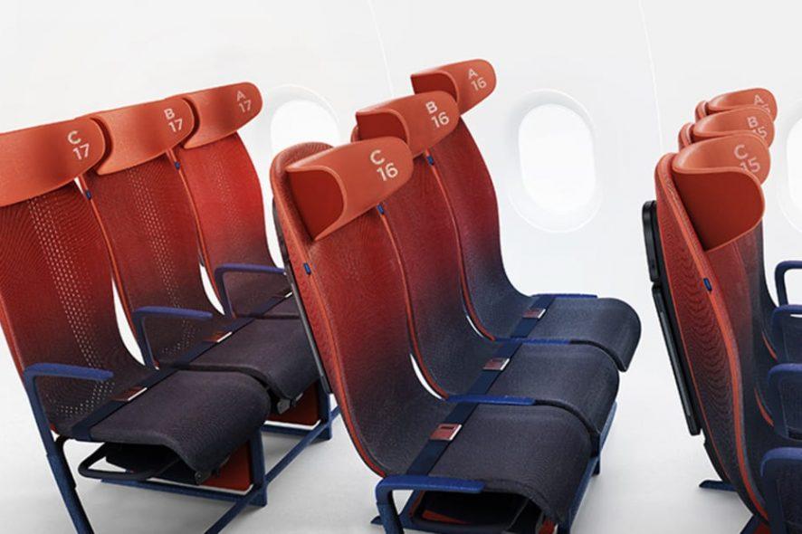Move, novos assentos de avião destinados à classe económica desenvolvidos pela Layer para a Airbus. Imagem de Layer:Airbus