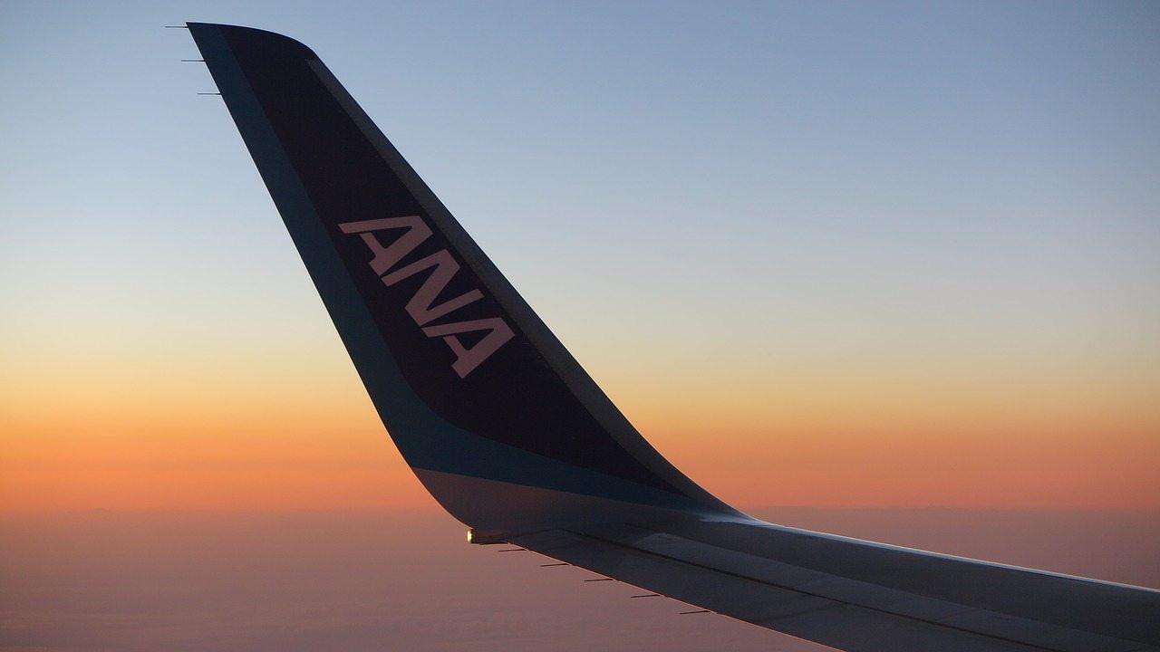 Winglet de avião da ANA All Nippon Airways fotografado em voo durante um pôr do sol