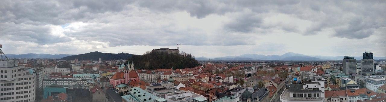 Panorâmica de Ljubljiana vista do Nobotičnik Café. Foto de Marta Costa