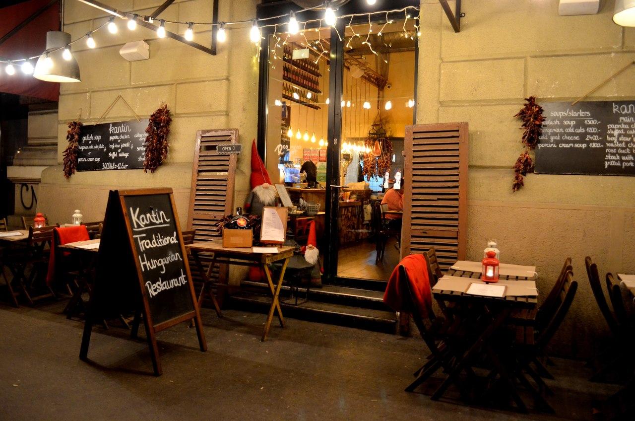Fachada do restaurante Kantin em Budapeste