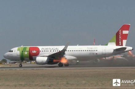 Motor de avião da TAP a pegar fogo no momento de uma descolagem no Aeroporto de Lisboa