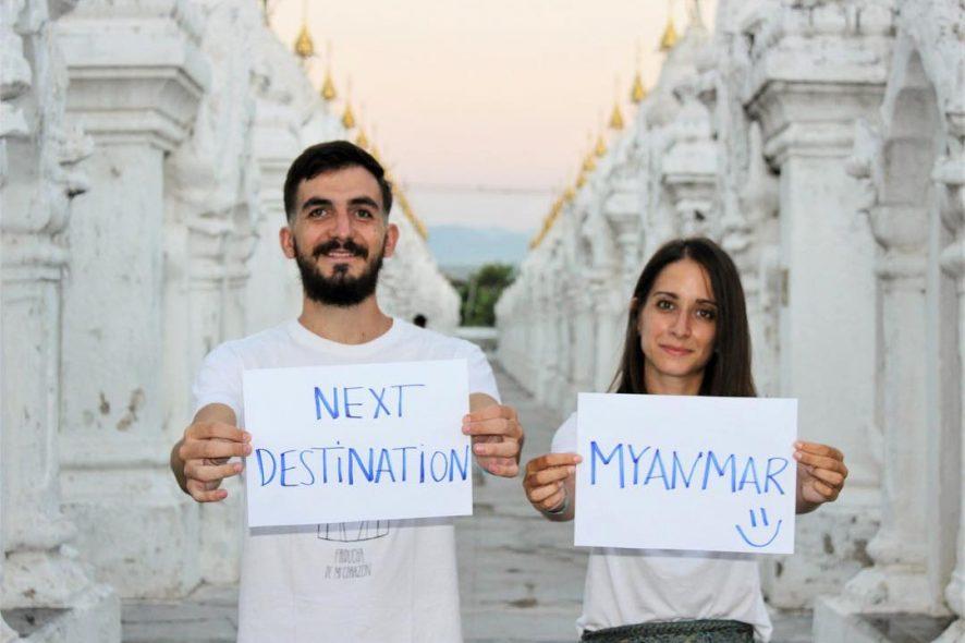Tiago e Joana do Partir para Ficar com folhas de boleia com Mianmar como destino