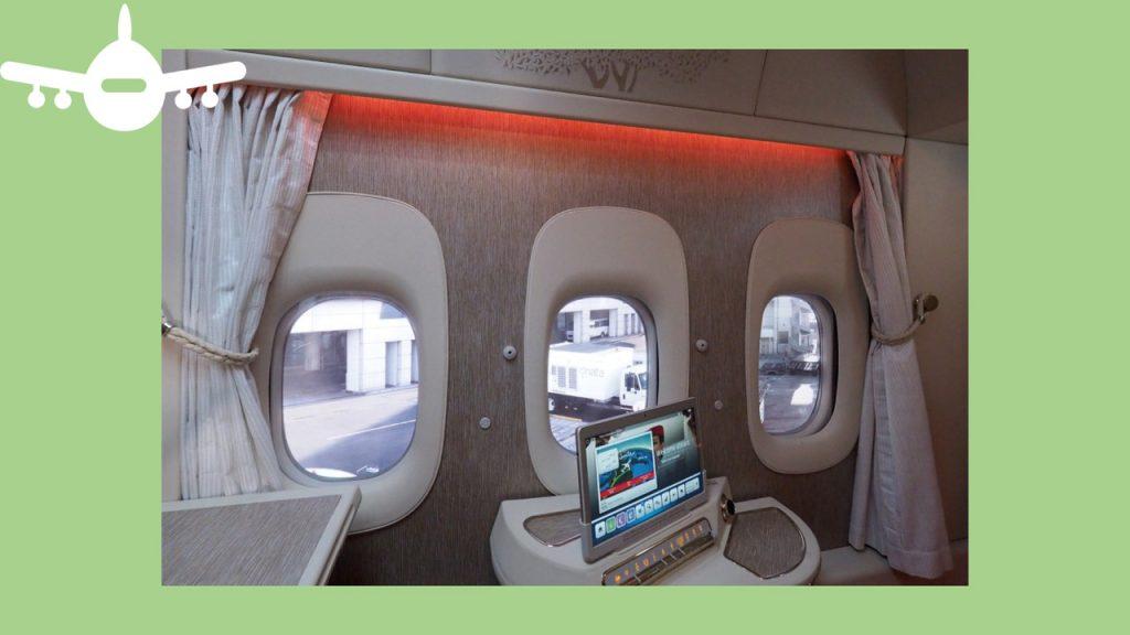 Janelas virtuais num avião da Emirates