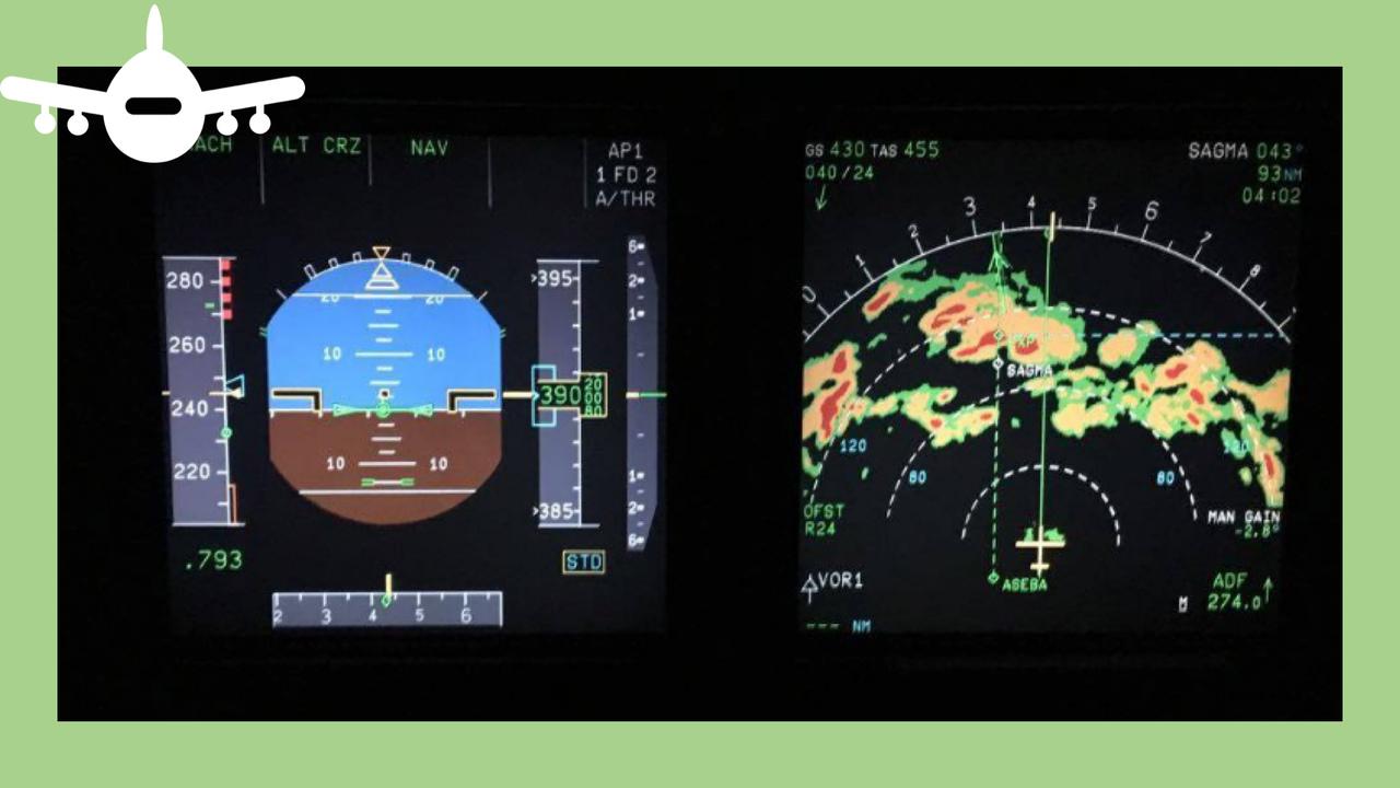 Radar de avião mostra zona de forte turbulência