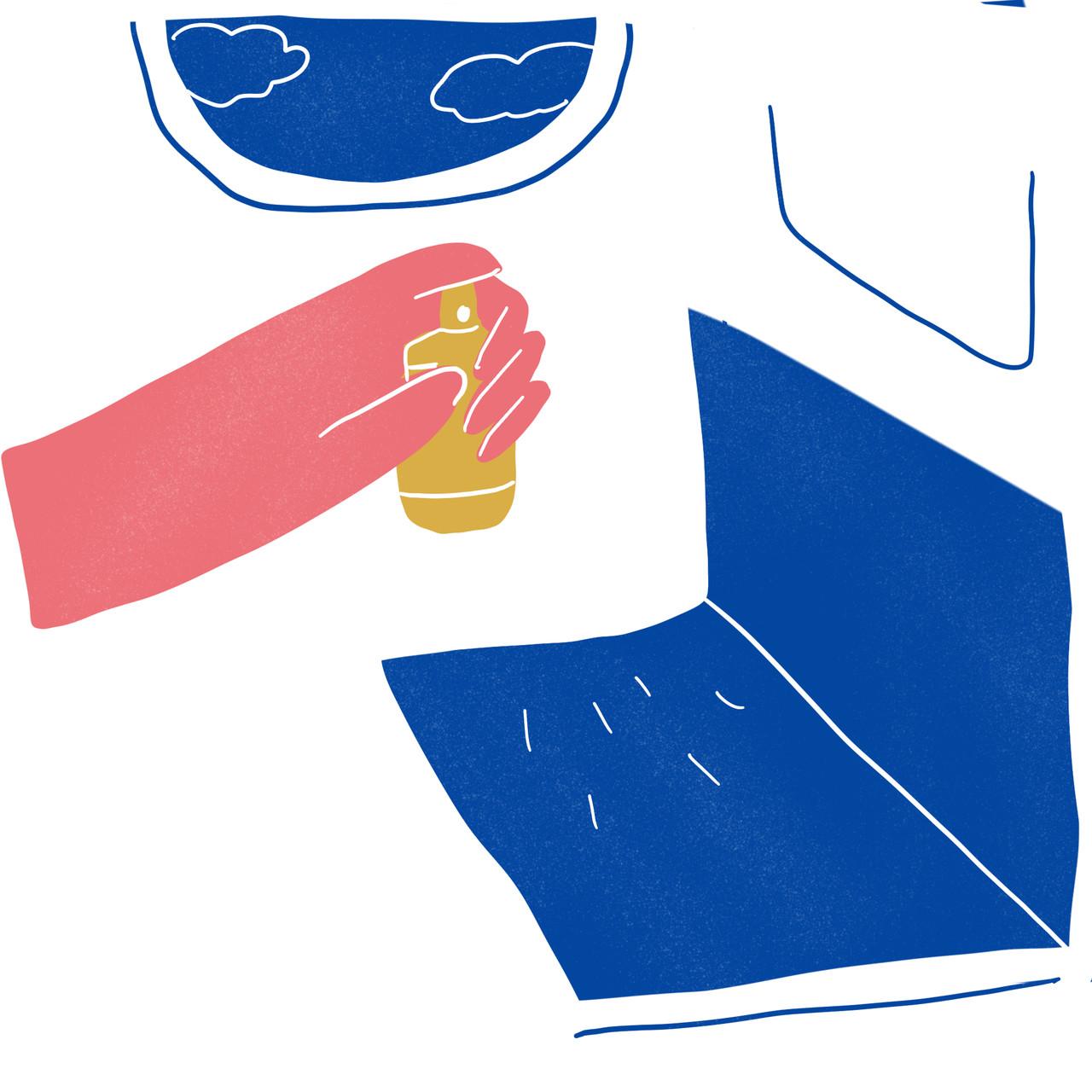 Desinfete as superfícies duras. Ilustração de Ana Paiva
