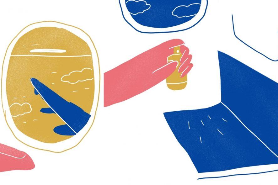 como desinfetar o seu lugar no avião ilustrações de Ana Paiva