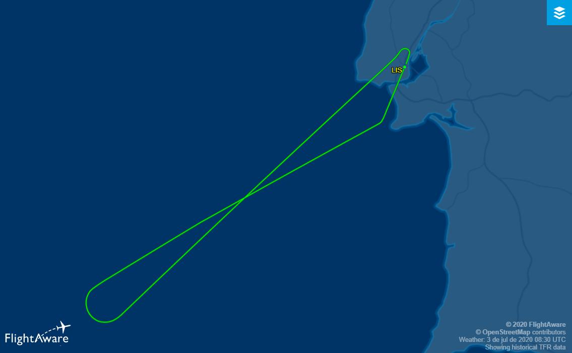 TP2357 proveniente de Lisboa e com destino a Cascais regressa ao aeroporto de origem por avaria