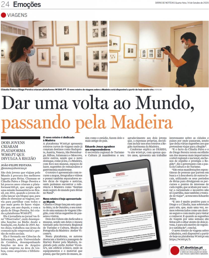 Diário De Notícias da Madeira 14.10.2020 reportagem sobre o W360.PT