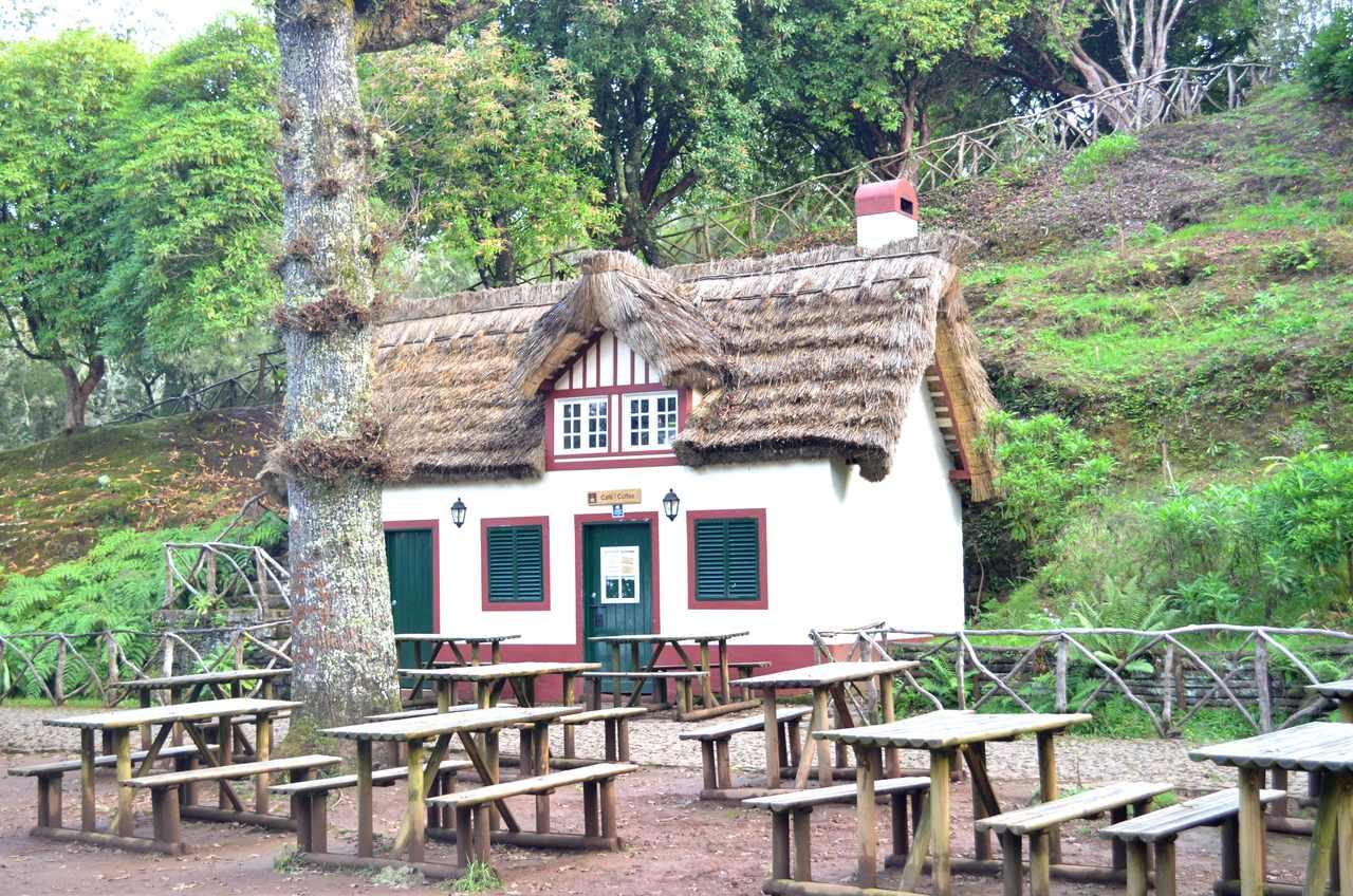 Mesas para piquenique no Parque Florestal da Queimada na Madeira