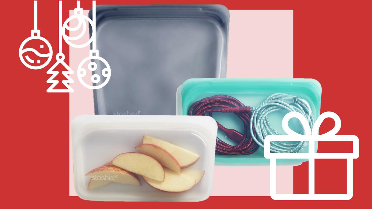 bolsas reutilizáveis da Stasher prendas de natal