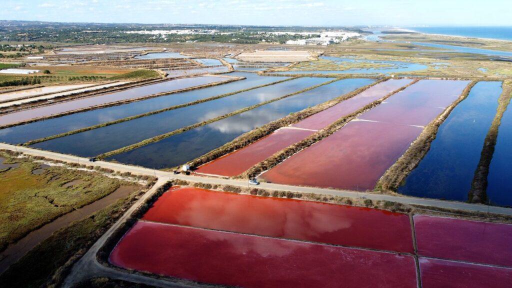 Vista aérea das Salinas de Tavira
